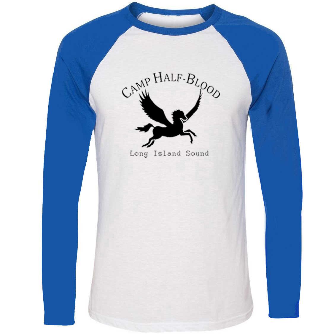 IDzn NEW Camp Half Blood Long Island Sound mythology Print T-shirt Spring Autumn Raglan Long Sleeve Funny T Shirt Men Women
