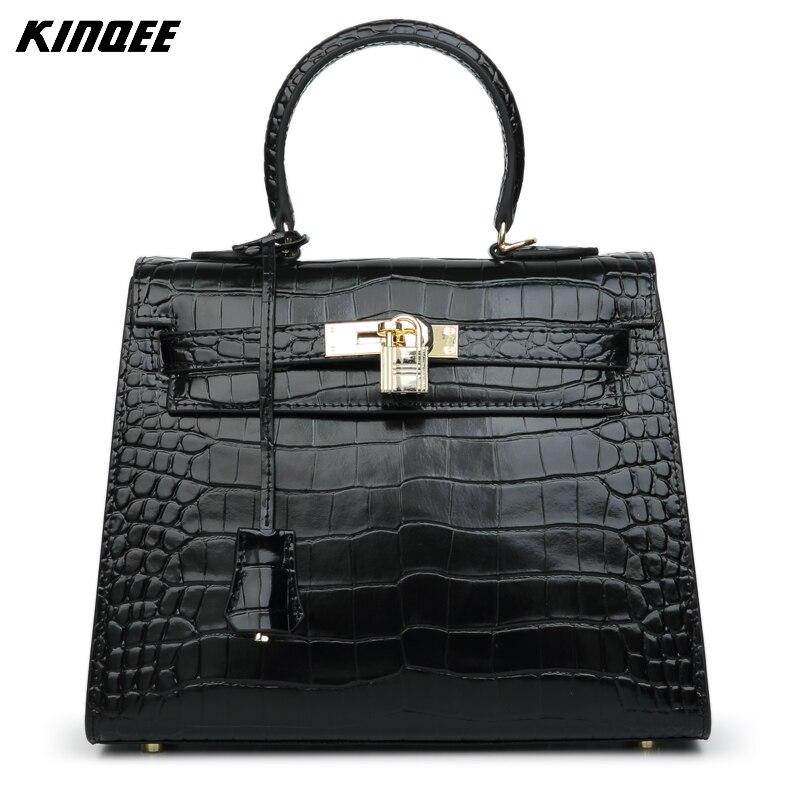 Genuine Leather Luxury Handbag Women Bags Designer Cow Leather Shoulder&Crossbody Bags Alligator European and American Style