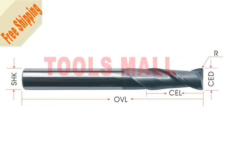 Free shipping-5pcs 5mm hrc55 R0.5*D5*13*D5*50 2 Flutes Milling tools Mill cutter Corner Radius End Mill CNC router bits  цены