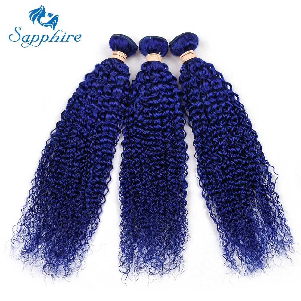 Sapphire Brazilian Blue Color Kinky Curly Human Hair Bundles 8-28inch Pre-Colored 100% Human Hair Bundle 3 PCS Weave Bundles