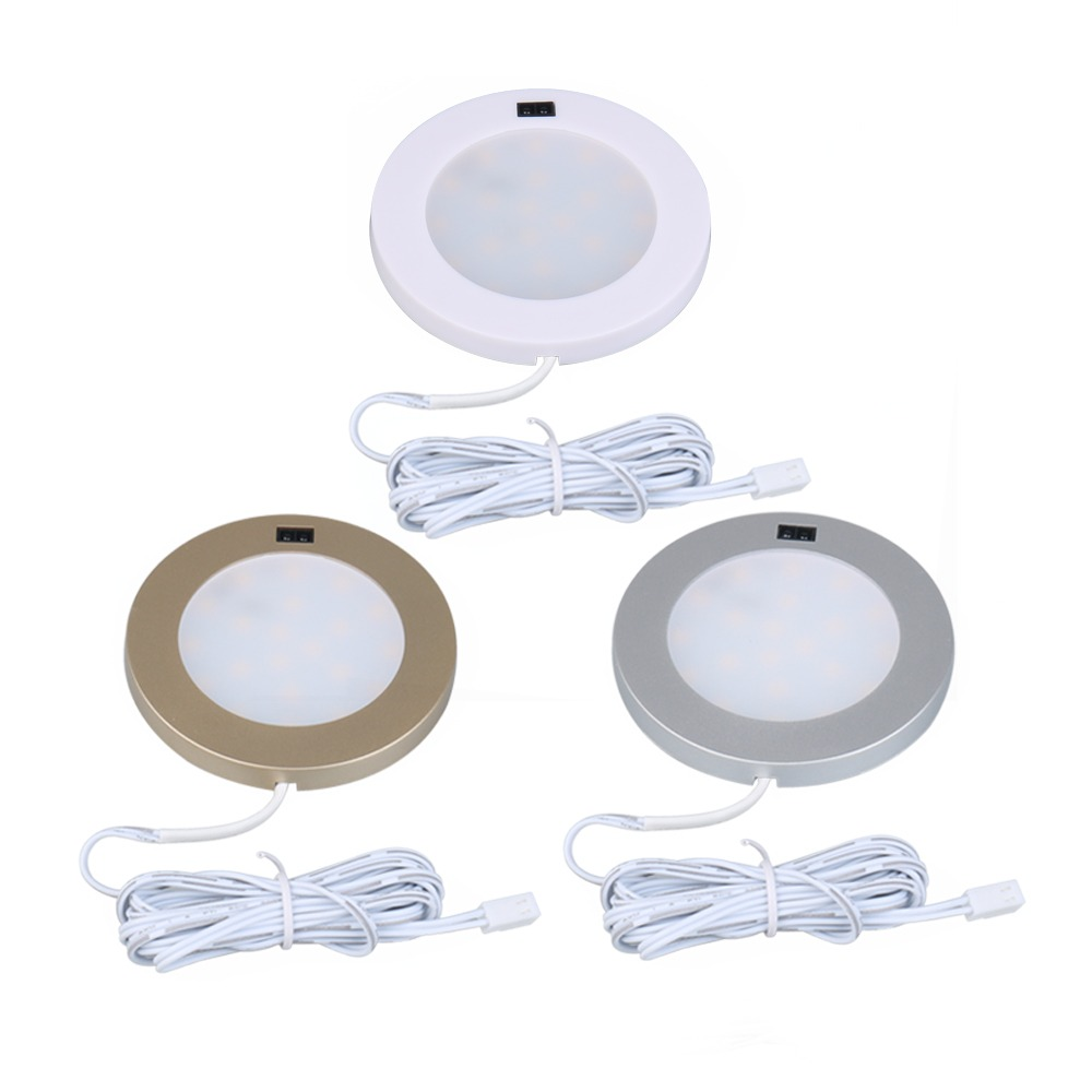 Bright Ir Sensor Switch 12v Led Kitchen Light Cupboard Under Sideboard Cabinet Led Round Lamp 3pcs Lights & Lighting