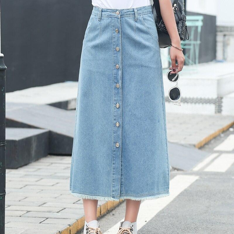 0e274e5b2f2 2019 Women Denim Long Skirt A Line Front Single-breasted Preppy Skirts Mid Waist  Plus