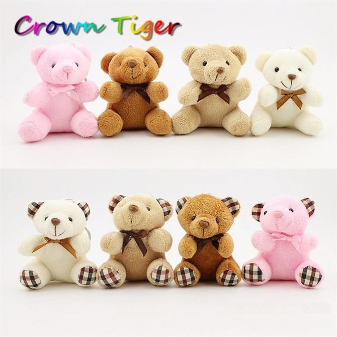 cute 8CM Kawaii Small tie Teddy Bears mini Plush doll Toys Stuffed Animals Fluffy Bear Dolls Soft Kids Toys key small pendant