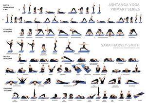 0024B wykres jogi-Astanga Vinyasa-naklejka ścienna jedwabny plakat światło płótno dekoracyjne