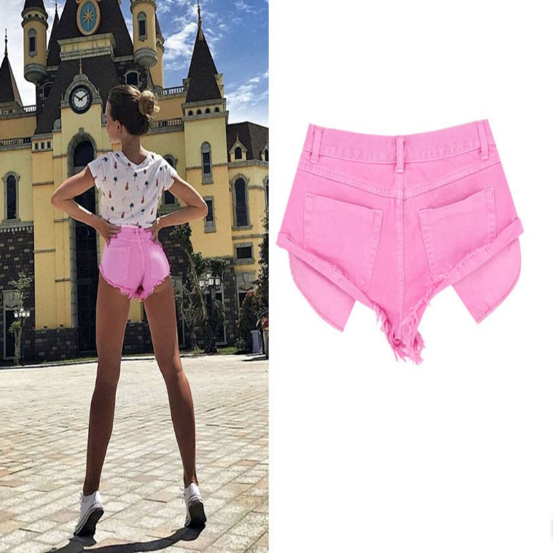 Summer Pink Casual Denim   Shorts   Women Vintage Pockets Jeans   Shorts   Sexy Party Cute   Shorts   Beach Street Wear