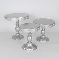 3 Pcs Silver Cupcake Cup Cake Crystal Wedding Dessert Display Stand