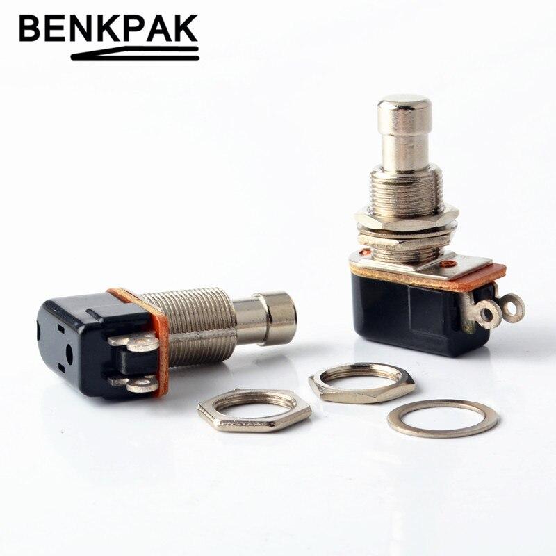 Benkpak spst momentâneo toque macio botão stomp pedal interruptor da guitarra elétrica desligar-momentâneo em