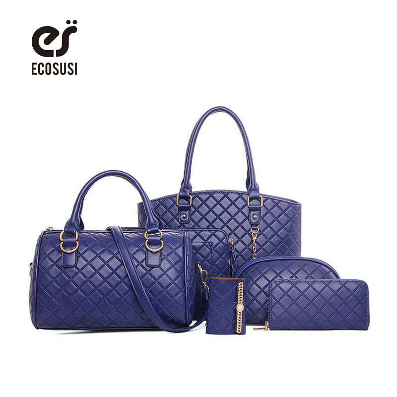 ecosusi 6pcs/set New Women Fashion Compostite Quilted Bag High Quality Women Tote PU Leather Solid Messenger Bags With Key Purse