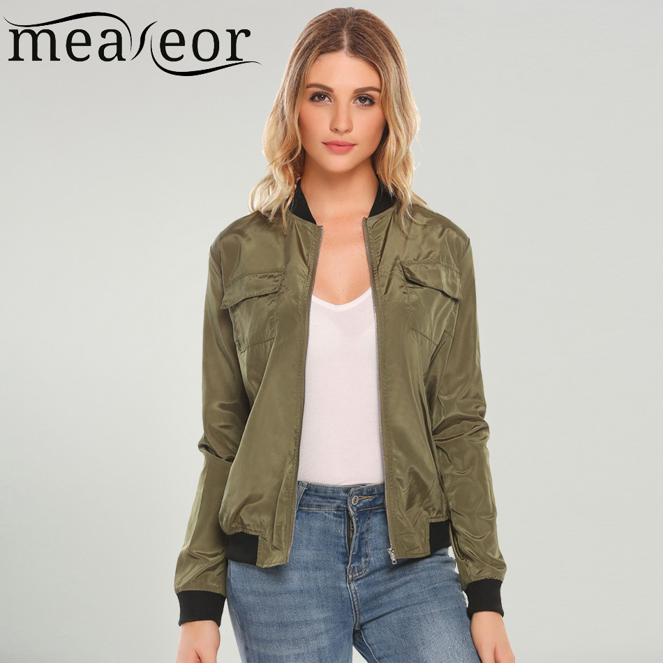 e11946a73 Meaneor Bomber Jackets Women Autumn Casual Baseball Jacket Fashion O-Neck  Long Sleeve Zipper Lightweight Side Pockets Outwear