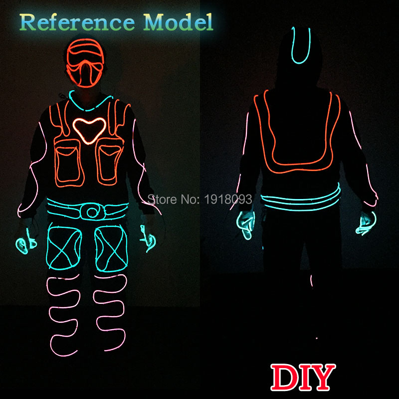 Powered by DC-12V Button Driver Warm heartbeat Men Style DIY Holiday Party Glow Supplies EL Cloth accessories new style holiday party decoration supplies el wire suit diy lights cloth men dance clothes for party decor