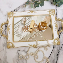 European Vintage Cake Tray Gold Mirror Glass Cupcake Plate Perfume Holder Mirrored Makeup Tray Wedding Party Home Decoration