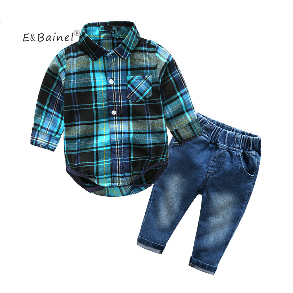 E&Bainel Spring Infant Clothing Baby Boy Set 2PCS Baby Suit Baby Boy Clothes Gentleman Green Plaid Rompers +Pants Jeans gentleman baby boy clothes black coat striped rompers clothing set button necktie suit newborn wedding suits cl0008