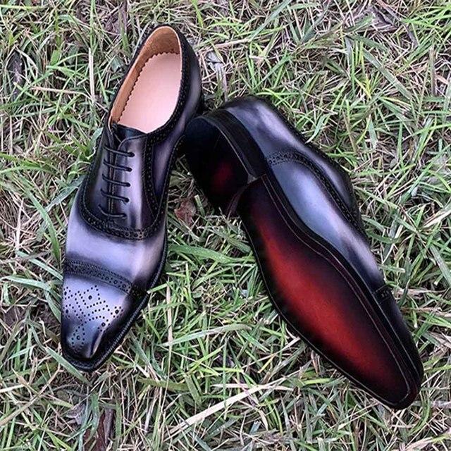 1ad7b3d68f6ed0 Sipriks luxe hommes Goodyear chaussures soudées italien personnalisé patine cuir  richelieu mâle robe de mariée chaussures