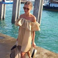 Mulheres venda quente da moda verão strapless sexy de slash ruffled strapless backless da praia estilo big size solid color dress