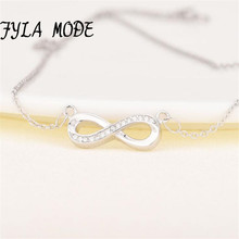 European Infinity Women font b Necklace b font 925 Sterling Silver Crystal Link Chain font b