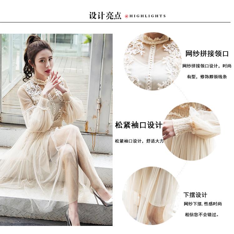 19 New Women Fashion Dress Stand Collar Lantern Sleeve Mesh Dress See-through Lace Embroidery Fairy Dress Femme Vestidos Robe 5