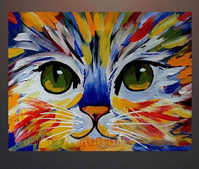 Populaire 100% À La Main Chat Abstrait Portrait Acrylique Peinture Peint À  NC08
