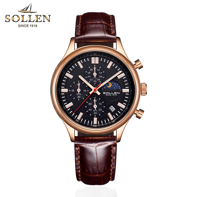 SOLLEN Brand Luxury Famous Men Watches Moon Phase Men's Watch Male Clock Fashion Leather Casual Quartz Watch reloj hombre 2018 цена