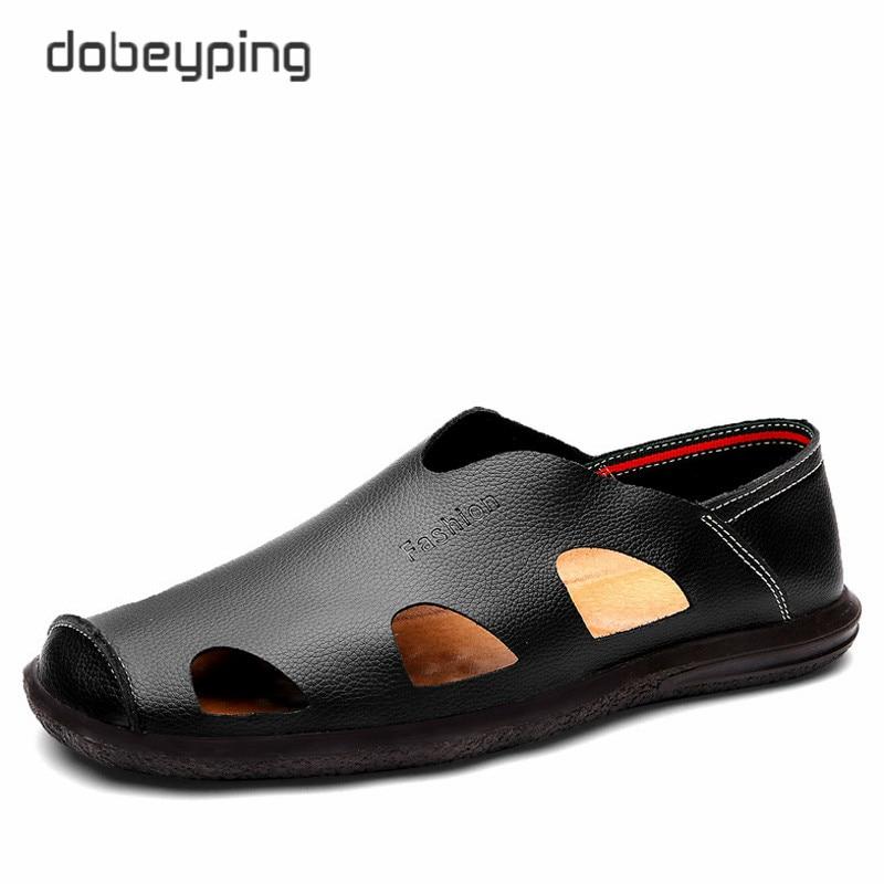 2017 Baru pria Musim Panas Sandal Nyata Kulit Pria Sepatu Fashion Bernapas Laki-laki Sepatu Kasual Lembut Mengemudi Sepatu ...