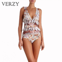 One Piece Women Sweet Floral Lace Deep V Triangle Bottom Sleeveless Sexy Lady Swimwear Hallow High