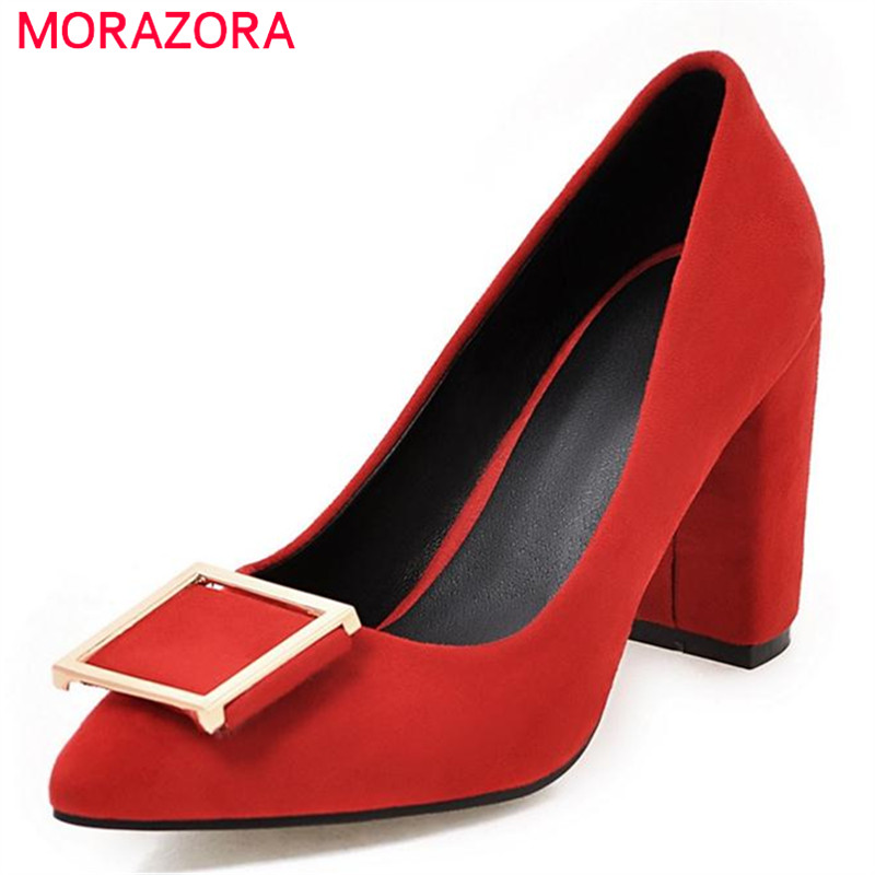 MORAZORA 2017 Four seasons single shoes shallow pointed toe high heels shoes woman wedding party shoes fashion women pumps morazora fashion 2017 women pumps thick heels platform spring single shoes woman high heels round toe party wedding shoes