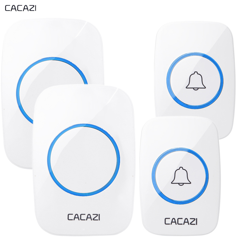 CACAZI New Wireless Doorbell Waterproof 300M Remote EU AU UK US Plug Door Bell Chime LED light 110DB sound 2 button 2 receiver cacazi ac 110 220v eu us uk plug wireless doorbell 1 waterproof button 3 receivers 300m remote door bell 38 chimes door ring