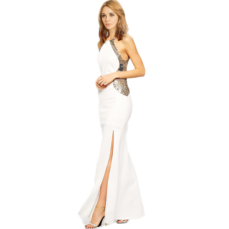 Buy Cheap RA80096 Best selling white party maxi dresses long o-neck sleeveless floor length lady fashion dress evening elegant women dress