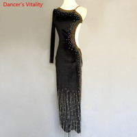 Sexy Backless Latin Dance Performance Dress Women Girls Kids Children Latin Ballroom Waltze Tango Dance Competition Clothing
