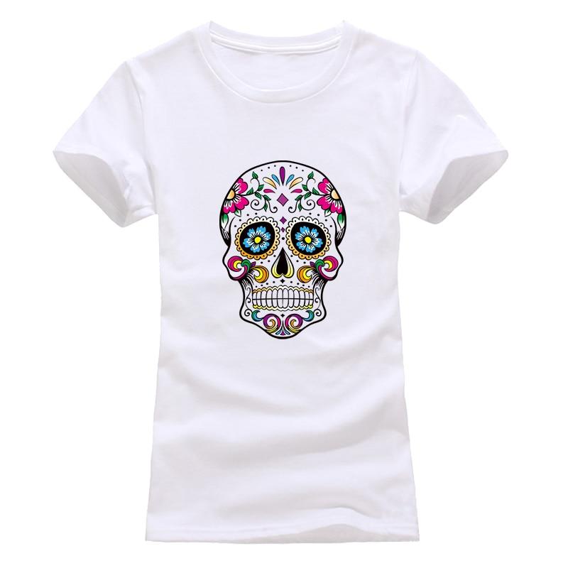 T-Shirt Women Streetwear-Tops Skull Grey Black White Fashion Summer Tees Comfortable