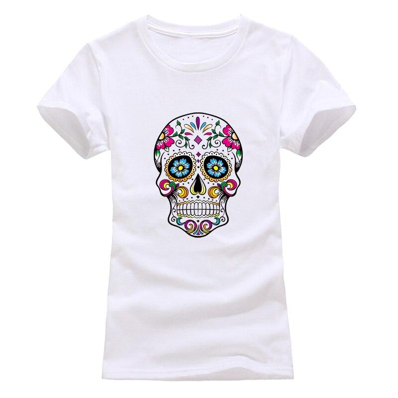 NEW 2018 Skull T Shirt Women Fashion  Summer Women T-Shirt Comfortable Streetwear Tops Tees Red Black Grey White