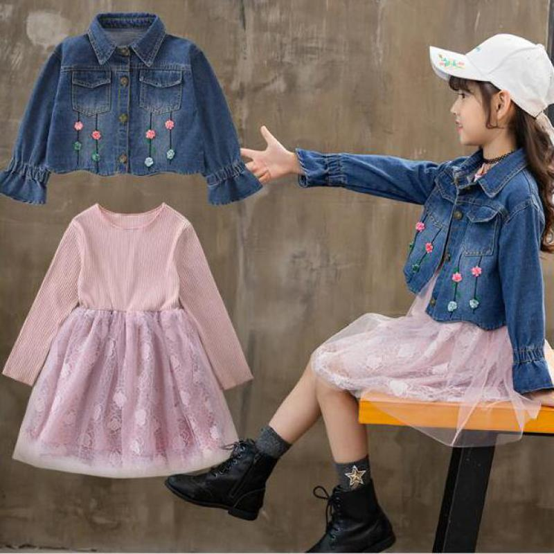 e9842f55fba Clothes Sets For Girls Teenagers Autumn 2018 School 2pcs Kids Clothing Sets  Suits Denim Jackets + Long Sleeve Lace Dress Costume