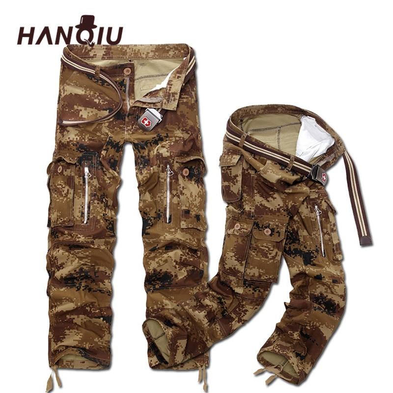 HANQIU Cargo Trouser Male Multi-Pockets Camouflage Casual New Men Size-28-40