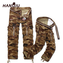 HANQIU New Men Cargo Pants Casual Multi-Pockets Camouflage Cargo Trouser Male Military Pants Size 28-40