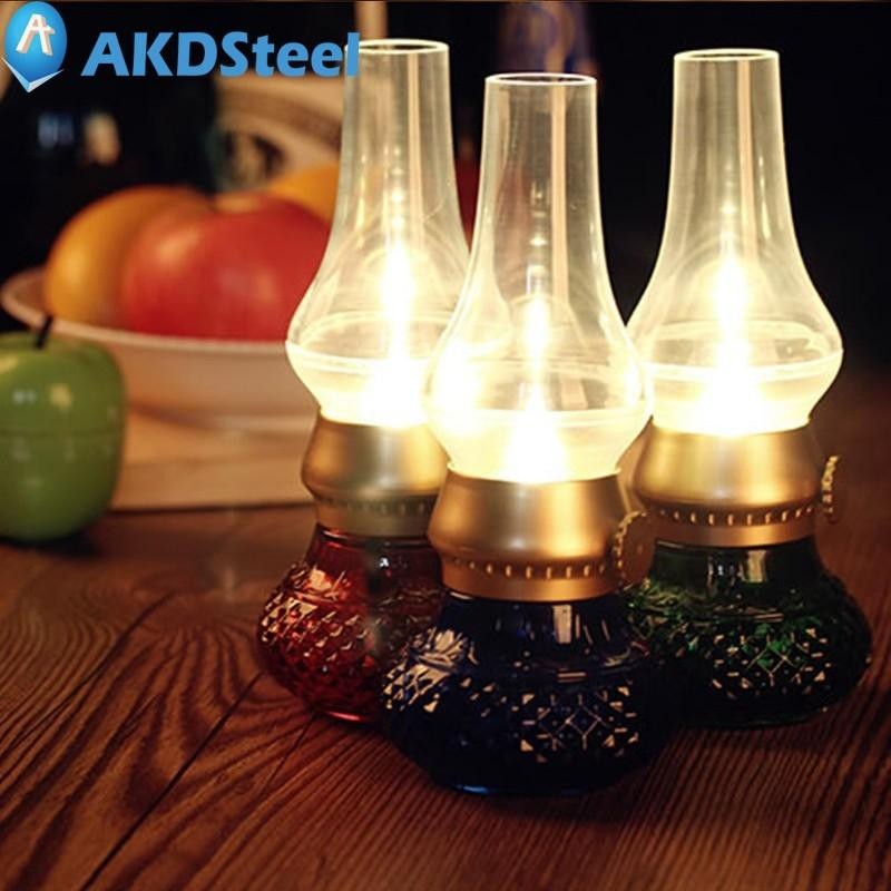 AKDSteel Retro Blowing Control LED Candle Lantern Kerosene Lamp USB Recharge Flameless with Dimmer Control Key European Style dfl 3x6 inch flameless real wax pillar electronic led candle with timer with embossed gold pearl