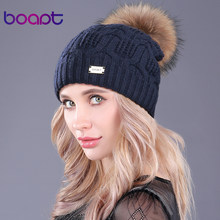 [boapt]Double Layer Knitted Wool Real Raccoon Fur Pompon Hats Female Winter Braid Ladies Cap Headgear For Women Skullies Beanies(China)