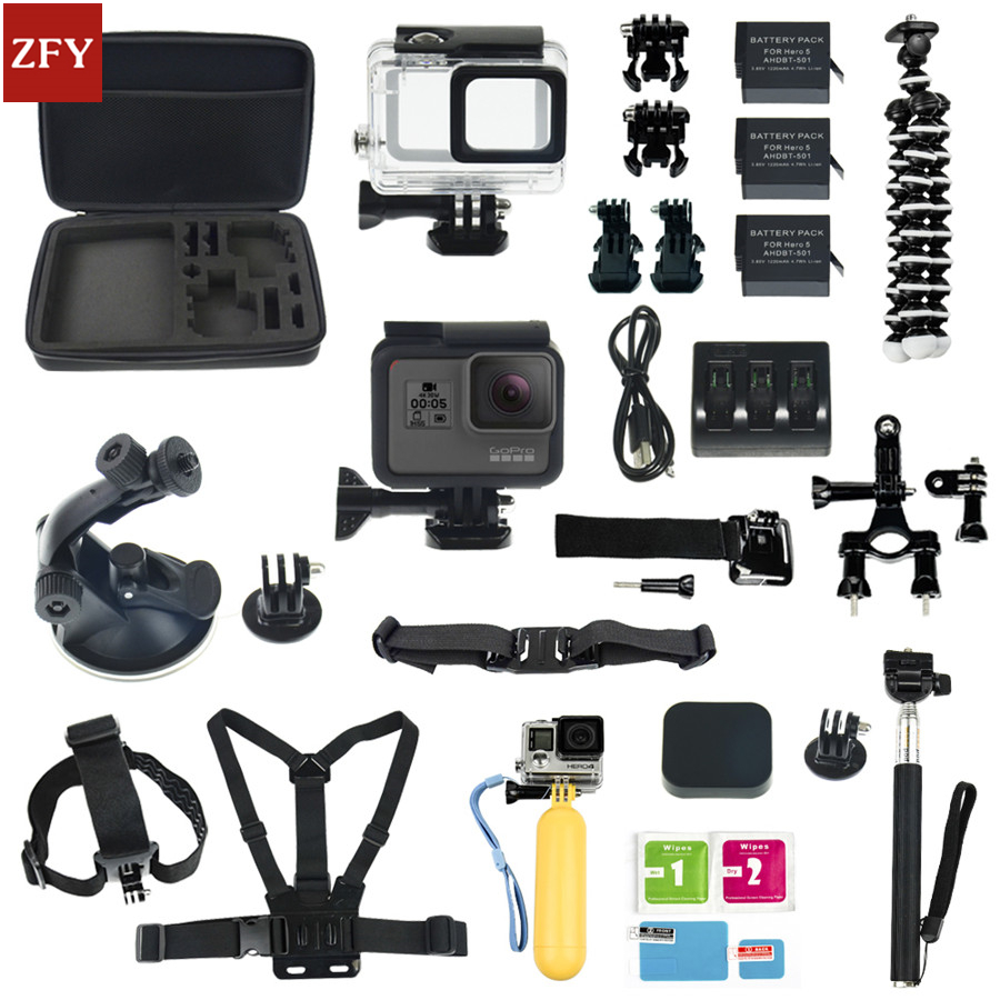 Gopro accessories set Gopro hero 5 waterproof protective case chest mount Monopod for gopro hero 5 tripod for gopro HERO 5 set shoot 45m waterproof case for gopro hero 5 black edition camera with base mount protective gopro hero 5 case go pro accessories