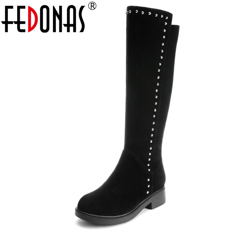 FEDONAS Fashion Women Knee High Boots Cow Suede Autumn Winter Warm Shoes Woman Rivet Party Prom Dancing High Motorcycle Boots цены