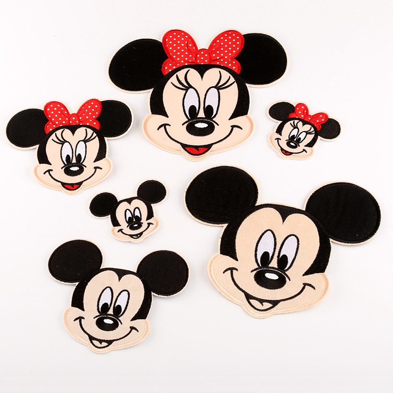 Pulaqi Mickey Minnie Patch Iron On Cute Cartoon Patches For Clothing Cheap Sewing Embroidery Patches For