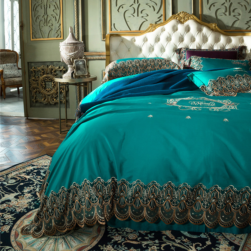 New luxury European style court bedding set embroidered lace edge RUIYEE brand bedd set Queen quilt cover sheets pillowcase