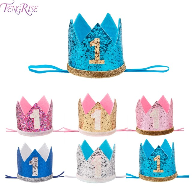 FENGRISE My First Birthday Party Hats Princess Crown Boy Girl I AM ONE Happy 1st