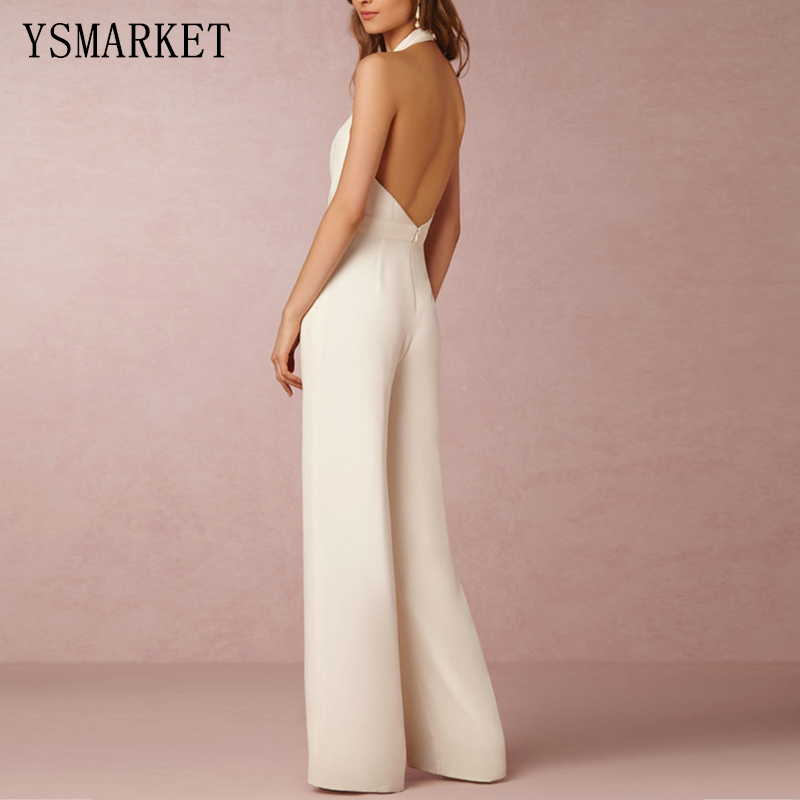 126dab07e3ab White Romper Summer Sexy Women Jumpsuit Sleeveless Trousers Long Pants  Overall Wide Leg Lady Jumpsuit High Waist Halter E207-in Jumpsuits from  Women s ...