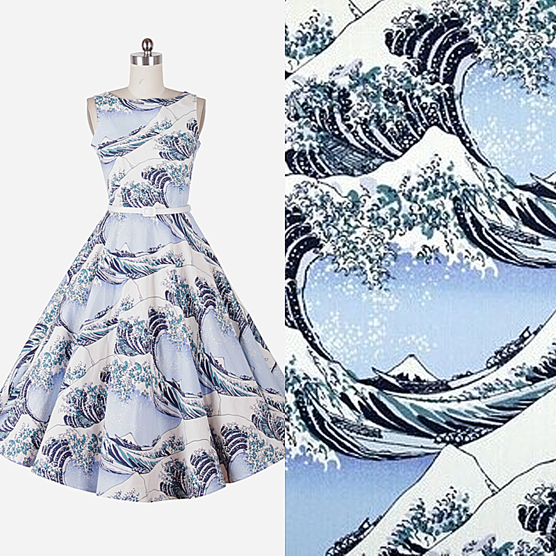 BZ18 100*140cm The New  The Japanese Custom Style Wave Printed Cotton Fabric For Women's Clothing Twill Patchwork DIY Sew Fabric