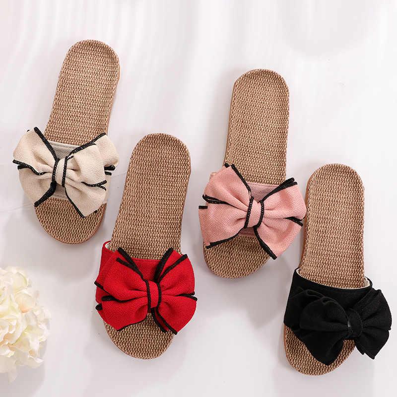 Mntrerm 2019 nuevas zapatillas informales para casa zapatillas de verano con moño piso suave mujer zapatos planos de interior lindo lino zapatillas Terlik