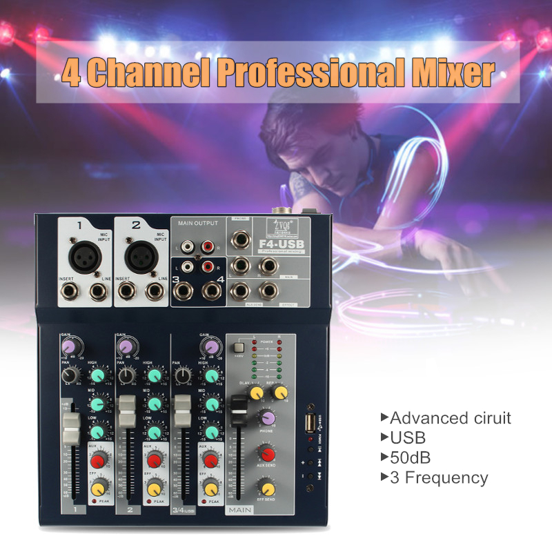 LEORY Professional 4 Channels Audio Mixer with USB 48V Phantom Power DJ Sound Mixing Console Live Mixer For Karaoke Match Party vadiboer f8 professional 6 channels mixer console with bluetooth effect 48v phantom power supply mini stage audio console equipm