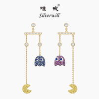 Silverwill 2018 popular fun pac man ghost drop earrings sterling 925 silver zircons lovely fashion long jewelry gift for girls