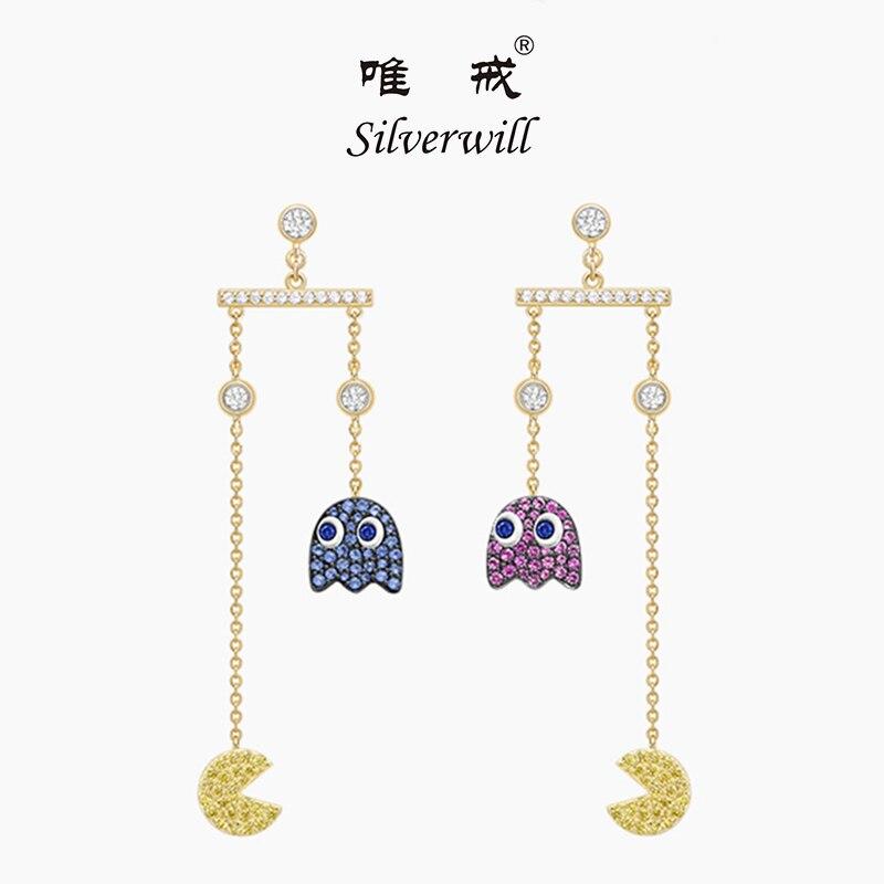 Silverwill 2018 amusement populaire pac man fantôme boucles d'oreilles sterling 925 argent zircons belle mode longue bijoux cadeau pour les filles