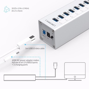 Image 5 - ORICO A3H13P2 אלומיניום 13 יציאות USB3.0 רכזת עם 2 יציאות טעינה 5V2.4A סופר מטען/5V1A אוניברסלי כסף