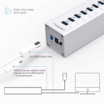 ORICO A3H13P2 Aluminum 13 Ports USB3.0 HUB with 2 Charging Ports 5V2.4A Super Charger / 5V1A Universal -Silver