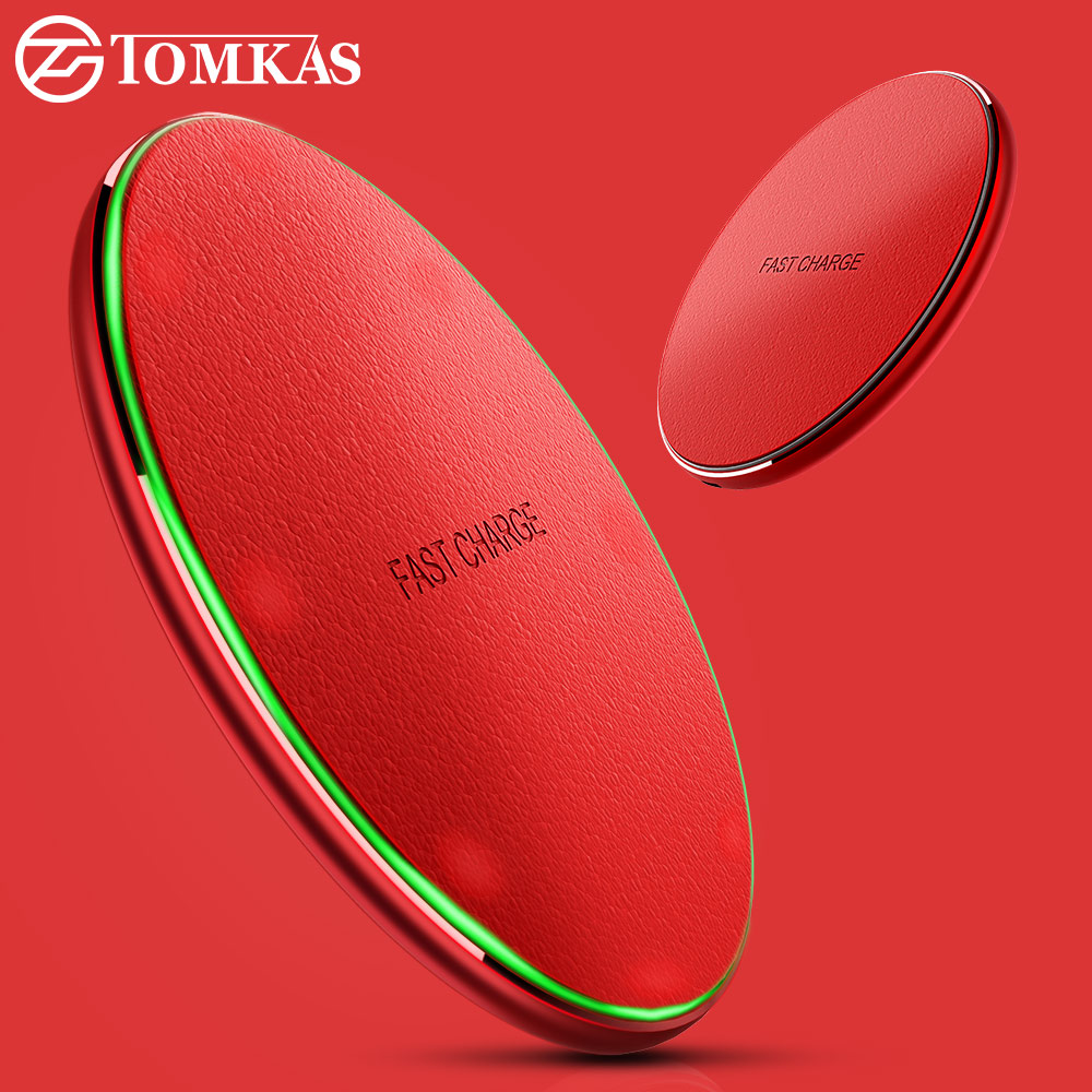 TOMKAS QI Wireless Charger For iPhone X 8 Plus Fast Wireless Charging For Samsung S8 S8 Plus S7 Edge S6 Edge Note 5 Wireless Pad