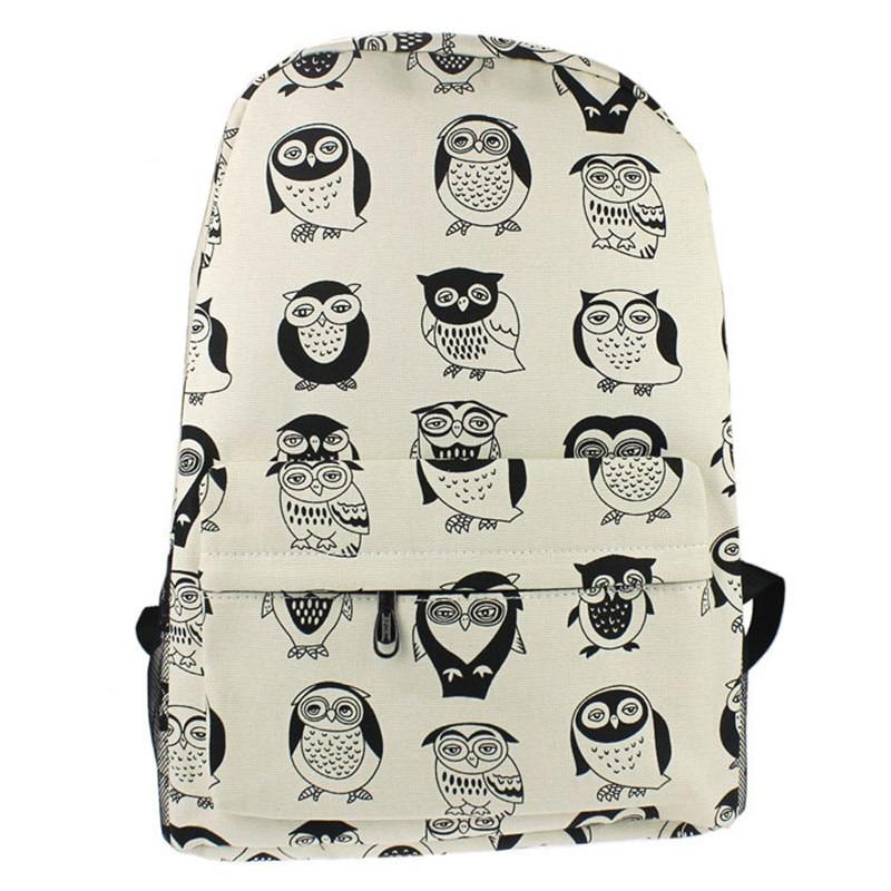 Hot Sale Women Youth Backpacks Canvas Travel Satchel Shoulder Bag Backpack School Rucksack Owl backpacks for teenage girls gift